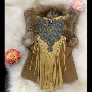 Leather Coyote Fur Rhinestone Fringe Vest